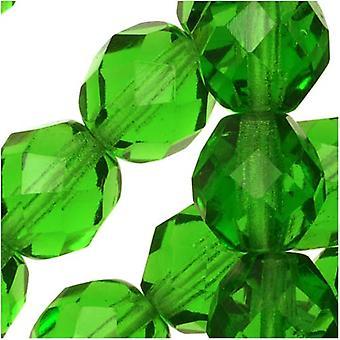 """חרוזי זכוכית צ'כית מלוטשת 8 מ""""מ עגול אור ירוק אמרלד (25)"""