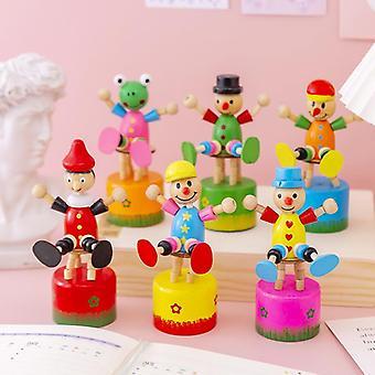 6Pcs cartoon cute wooden clown tabletop setting swing puppet children toy set