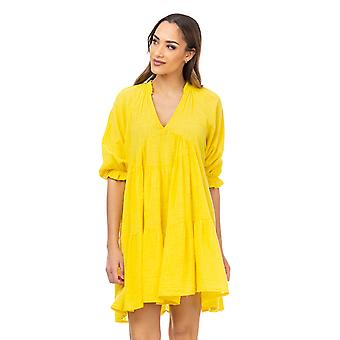 Wijde jurk met V hals en 3/e elastische mouwen
