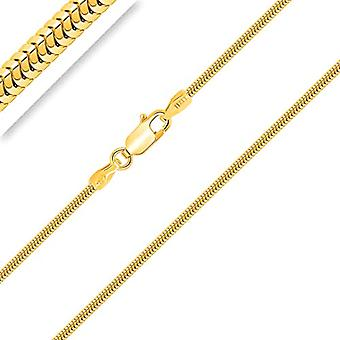 PLANETYS - 925/1000 silver snake knitted chain, 18-carat yellow gold plated, width 1.4 mm, 40-45-50-55-60-65-70 Ref. 3701049592415