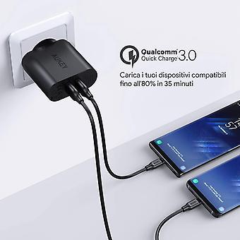 FengChun Quick Charge 3.0 Caricabatterie USB da Muro 39W Due Porte Caricatore USB per Samsung Galaxy
