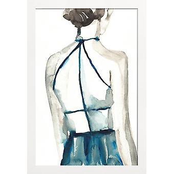 JUNIQE Print - Whisky Shot - Fashion Illustration Poster in Blue & White
