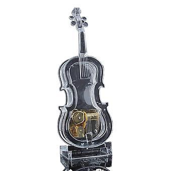 Mechanical wind-up violin shape music box without light