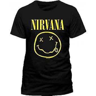 NIRVANA Smiley T-Shirt, Unisex, Medium, Black