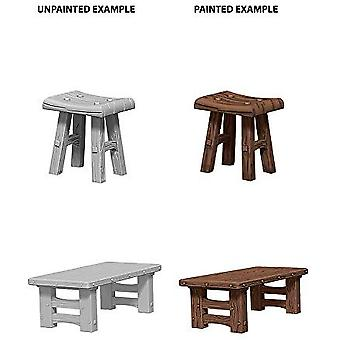 Pathfinder Deep Cuts Unpainted Miniatures - Wooden Table & Stools