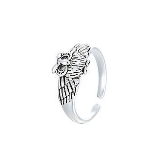 S925 الاسترليني الفضة سيدة بومة خاتم خمر