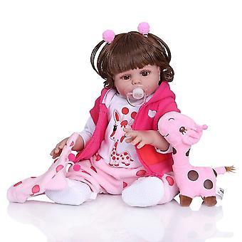 Göndör haj 49cm bebe baba újjászületett kisgyermek lány baba rózsaszín ruhában teljes test puha szilikon reális baba fürdő játék vízálló