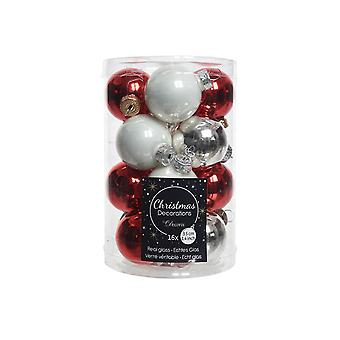 16 3.5cm Red, White & Silver Mix Glass Christmas Tree Bauble Decorations