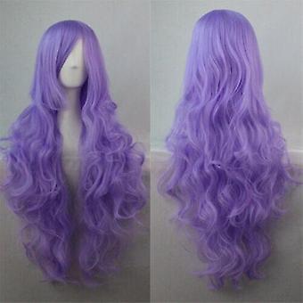 (Light Purple) Woman Long Curly Wigs Cosplay Halloween Costume Anime Hairs Wavy Full Wig Hair