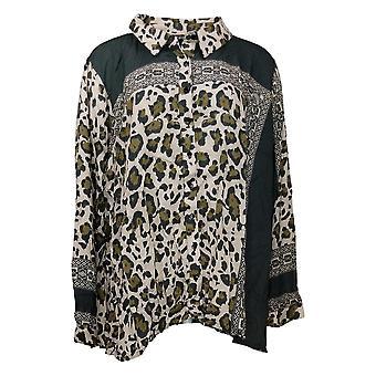 Tolani Collection Damen Plus Top Leopard Print Knopf vorne Grau A389942