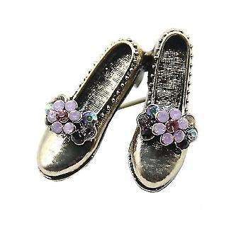 Retro bross pin cipő fűző gyémánt intarid ötvözet női bross