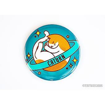 Kissa-painike Caturn Space Cat Pin Magnet tai Mirror