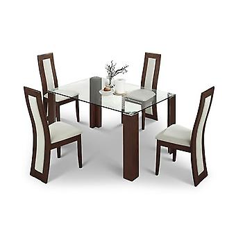 Mist Glass Dining Table And 4 Wood Chairs - Chairs Fully Assembled