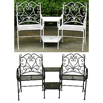 Charles Bentley Heart-Shaped Wrought Iron Companion Love Seat 2 Seater and Shelves - Rust Proof Painted Finish