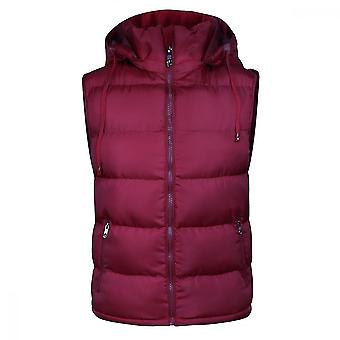 Homemiyn Men's Detachable Hooded Solid Color Vest Winter Warm Cotton Waistcoat, Red(L)(Red)