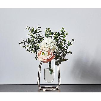 Nordisk stil guldpläterade miljövänliga metalldekorvaser med blommor (Rose Gold 15.5cm1)
