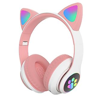 Flash light cute cat ears bluetooth wireless headphones with mic(White Pink)
