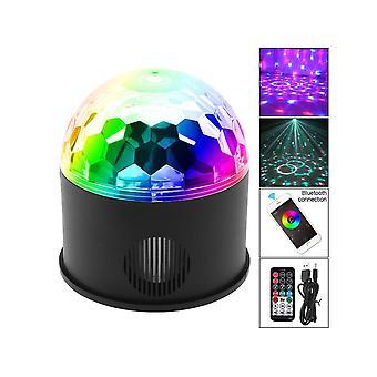Bluetooth + Altavoz 9w 9 colores USB 5v Led Magic Ball Proyector Luces de escenario Soporte Conexión inalámbrica del teléfono con control de sonido para decoración / coche