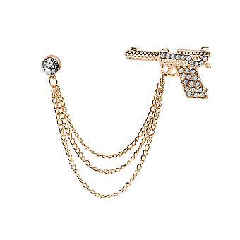Creative Diamond-encrusted Pistol Chain Tassel Fashion Dress Suit Badge Pin