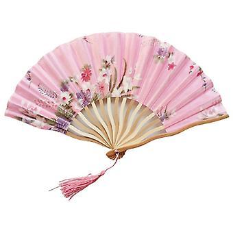 Faltfächer Vintage Chinesischer Handventilator Seide Bambus Faltfächer