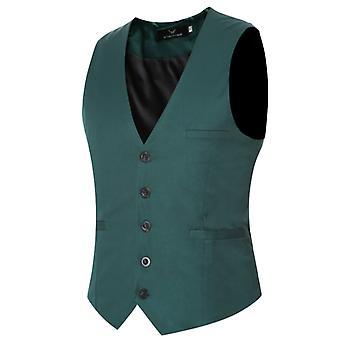 Herren V-Ausschnitt Anzug Weste Baumwolle Slim Four Seasons Weste Grün