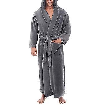 Mens Fleece Hooded Long Soft Bathrobe