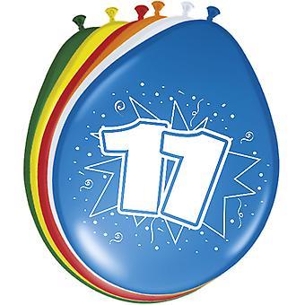 Ballon bunt Luftballons Zahl 11 Geburtstag 8 St. Deko Ballons Party