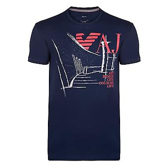 Armani Navy Graphic Mens T-Shirt
