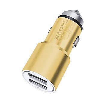 (Oro) Adaptador de bala de cargador de coche de aluminio de doble puerto (3.1AMP/24W) para ZTE Blade A460