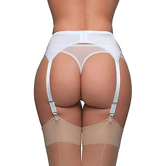 Color sólido blanco encaje cinturón 6 correa Liga liguero de nylon sueños NDL8 mujeres