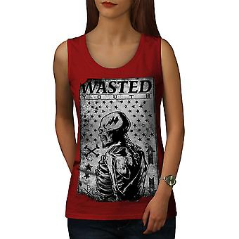 Wasted Skeleton Skull Women RedTank Top | Wellcoda