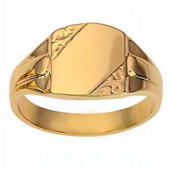 9ct goud 14x12mm gents gegraveerd rechthoekige Signet Ring grootte X