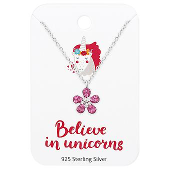 Flower Necklace On Believe In Unicorns Card - 925 Sterling Silver Sets - W36099x
