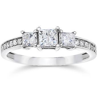 3/4 tre sten Princess Cut Diamond Engagement Ring 14K hvidguld