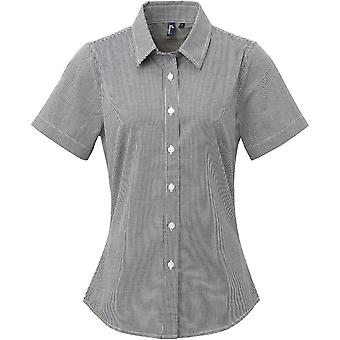 Premier Womens/Ladies Gingham Microcheck Short Sleeve Corporate Shirt