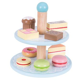 Bigjigs Toys Wooden Cake Stand with 9 Cakes Pretend Roleplay Food Kitchen