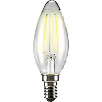 Sygonix LED (monochrome) EEC A++ (A++ - E) E14 Candle 2 W = 25 W Warm white (Ø x L) 35 mm x 99 mm Filament 1 pc(s)