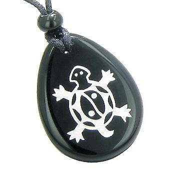Chanceux tortue magique Yin Yang pouvoirs spirituels amulette Onyx noir Totem Gemstone pendentif