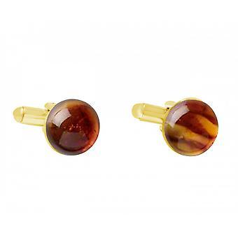 Män - manschettknappar - guldpläterad - bärnsten - gul - orange - 15 mm