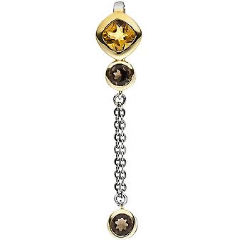 Vedhæng 925 sterlingsølv bicolor guld krystal 1 2 røg krystaller
