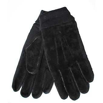 Mens Tom Franks Real Suede Glove With Warm Thermal Lining Knitted Panels & Cuff