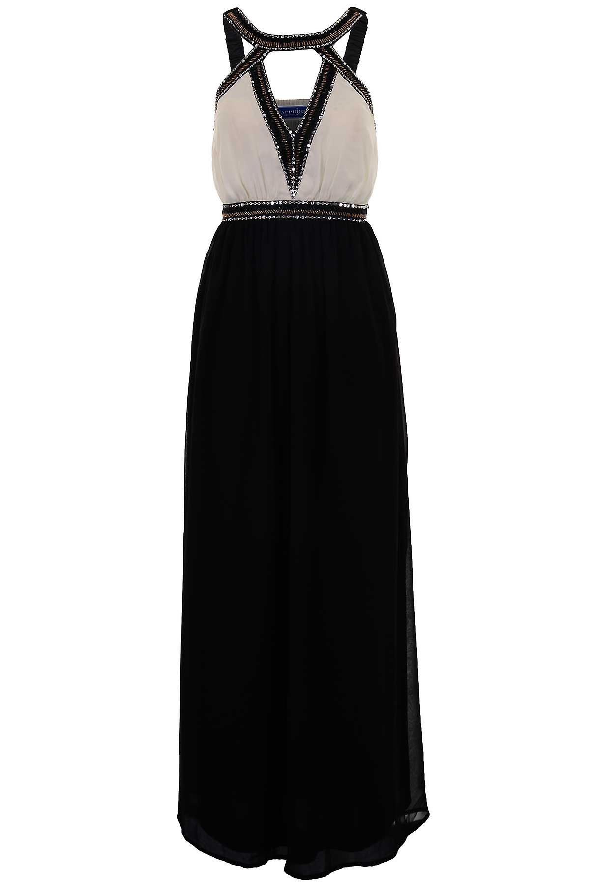 Hyvät pehmustettu leikata V kaula-aukko Sifonki vuorattu helmillä naisten pitkä Maxi mekko