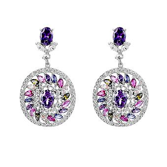 Orphelia Silver 925 Earring Circle with Multicolored Stones And Zirconium - ZO-7428