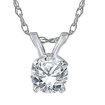 1 / 3ct Solitär Diamant Anhänger 14 Karat Weißgold