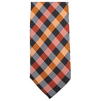 Knightsbridge Neckwear Luxury Checked Tie - Orange/Black