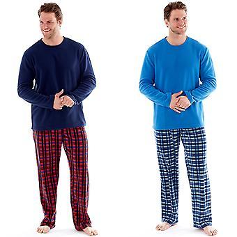 Harvey James Mens Check Thermal Pyjamas Pants Fleece Top Loungewear Sets