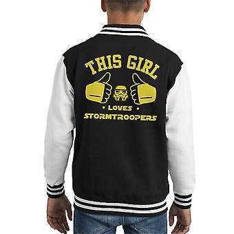 Original Stormtrooper This Girl Loves Troopers Kid's Varsity Jacket
