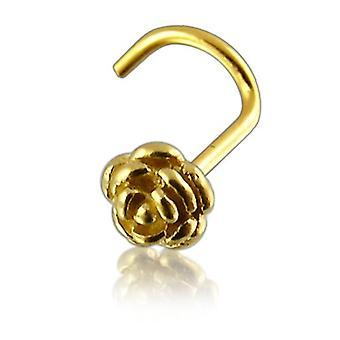 Næse Stud skrue Piercing 14 ct gul guld, krop smykker, Rose