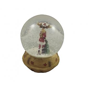 Gisela Graham Moose Snowdome Christmas Decoration