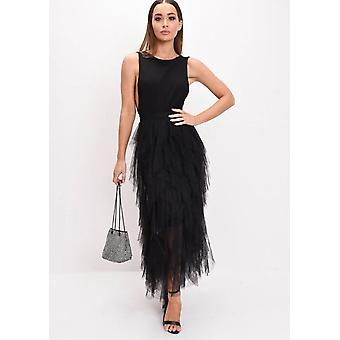 Alta vita Layered Tulle Increspature Midi Skirt Black